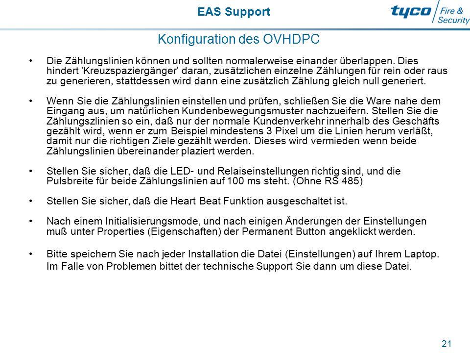 EAS Support 21 Konfiguration des OVHDPC Die Zählungslinien können und sollten normalerweise einander überlappen. Dies hindert 'Kreuzspaziergänger' dar