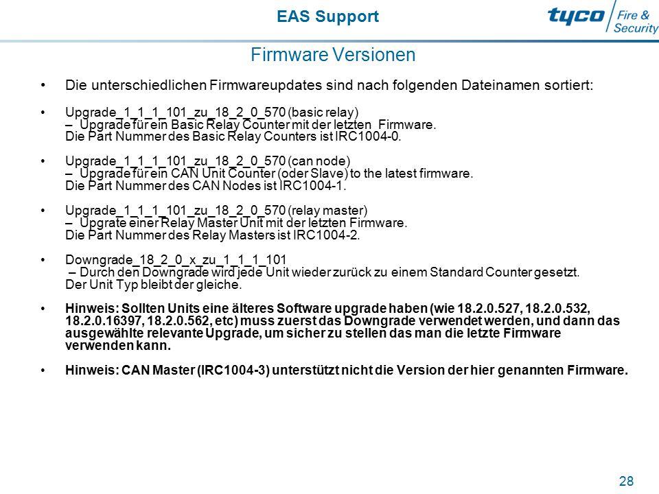 EAS Support 28 Firmware Versionen Die unterschiedlichen Firmwareupdates sind nach folgenden Dateinamen sortiert: Upgrade_1_1_1_101_zu_18_2_0_570 (basi