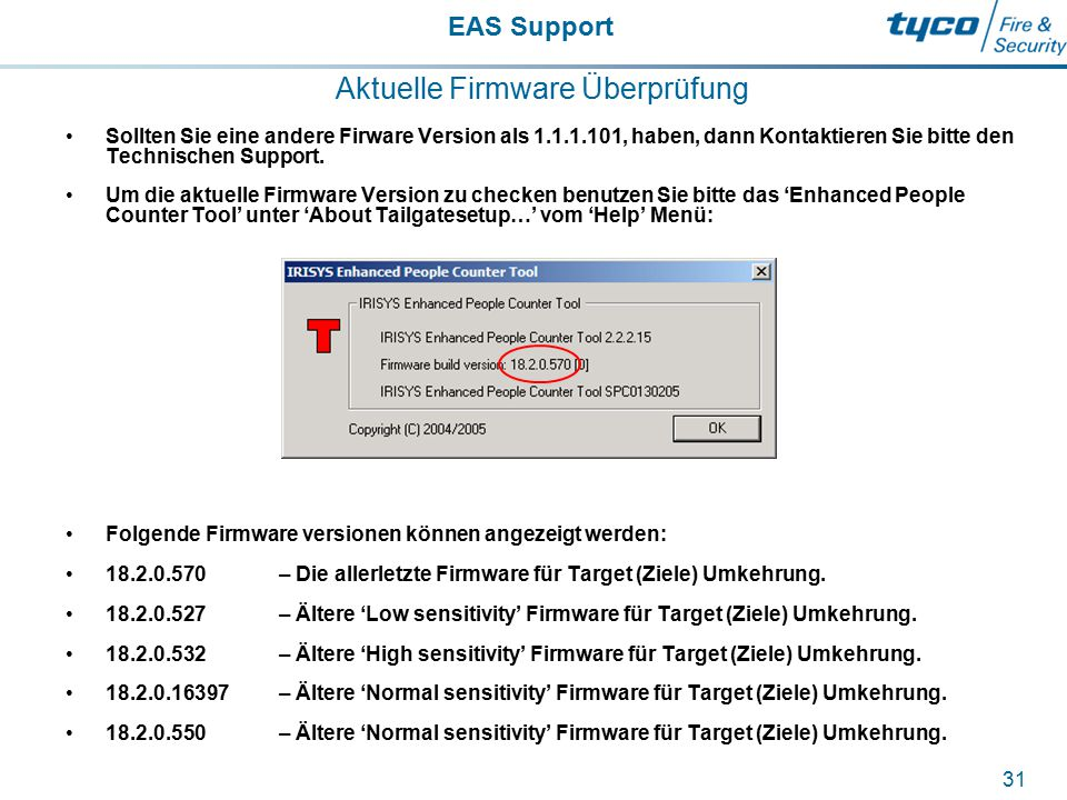 EAS Support 31 Aktuelle Firmware Überprüfung Sollten Sie eine andere Firware Version als 1.1.1.101, haben, dann Kontaktieren Sie bitte den Technischen