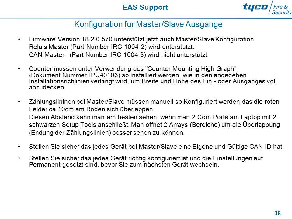 EAS Support 38 Konfiguration für Master/Slave Ausgänge Firmware Version 18.2.0.570 unterstützt jetzt auch Master/Slave Konfiguration Relais Master (Pa