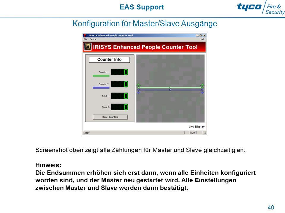 EAS Support 40 Konfiguration für Master/Slave Ausgänge Screenshot oben zeigt alle Zählungen für Master und Slave gleichzeitig an. Hinweis: Die Endsumm