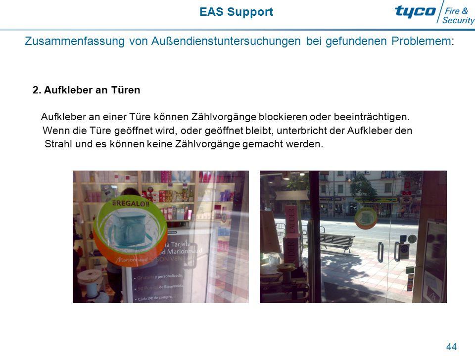EAS Support 44 Zusammenfassung von Außendienstuntersuchungen bei gefundenen Problemem: 2. Aufkleber an Türen Aufkleber an einer Türe können Zählvorgän