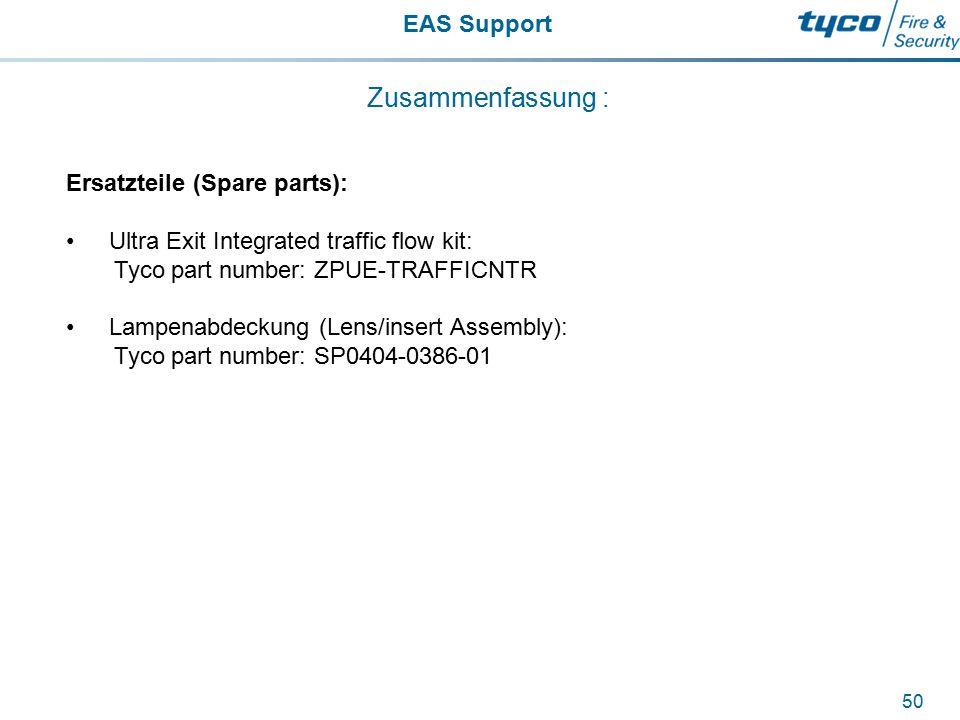 EAS Support 50 Zusammenfassung : Ersatzteile (Spare parts): Ultra Exit Integrated traffic flow kit: Tyco part number: ZPUE-TRAFFICNTR Lampenabdeckung