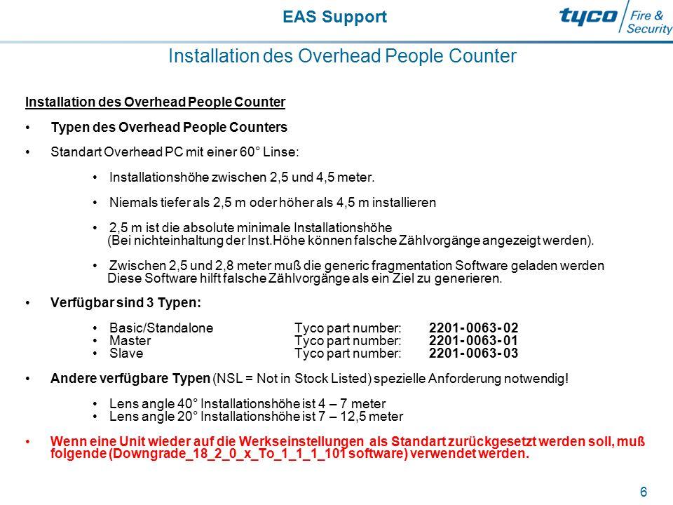 EAS Support 6 Installation des Overhead People Counter Typen des Overhead People Counters Standart Overhead PC mit einer 60° Linse: Installationshöhe