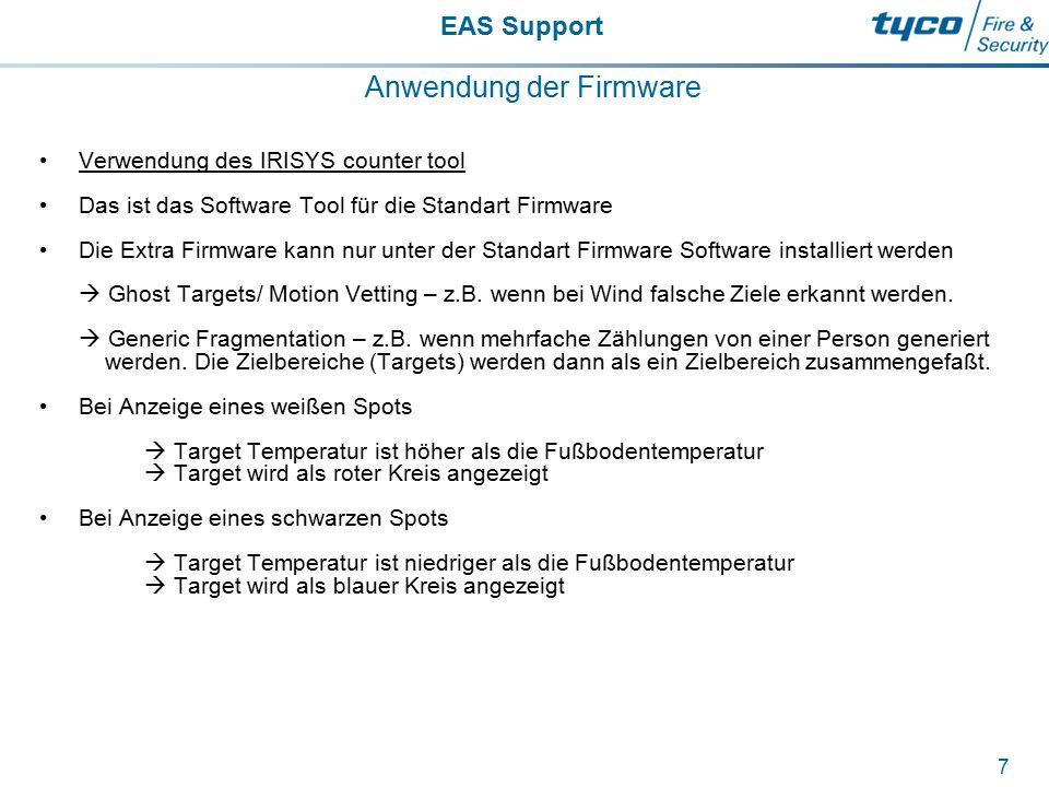 EAS Support 7 Anwendung der Firmware Verwendung des IRISYS counter tool Das ist das Software Tool für die Standart Firmware Die Extra Firmware kann nu