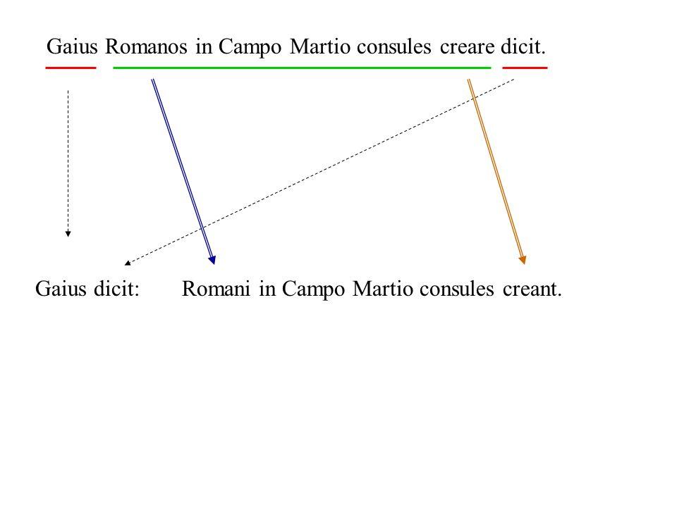 Gaius Romanos in Campo Martio consules creare dicit. Gaius dicit:Romani in Campo Martio consules creant.