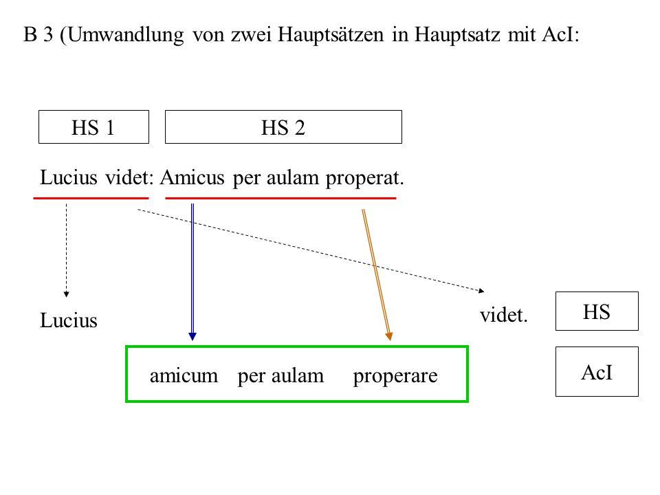 B 3 (Umwandlung von zwei Hauptsätzen in Hauptsatz mit AcI: Lucius videt: Amicus per aulam properat. HS 1HS 2 Lucius videt. amicumper aulamproperare HS