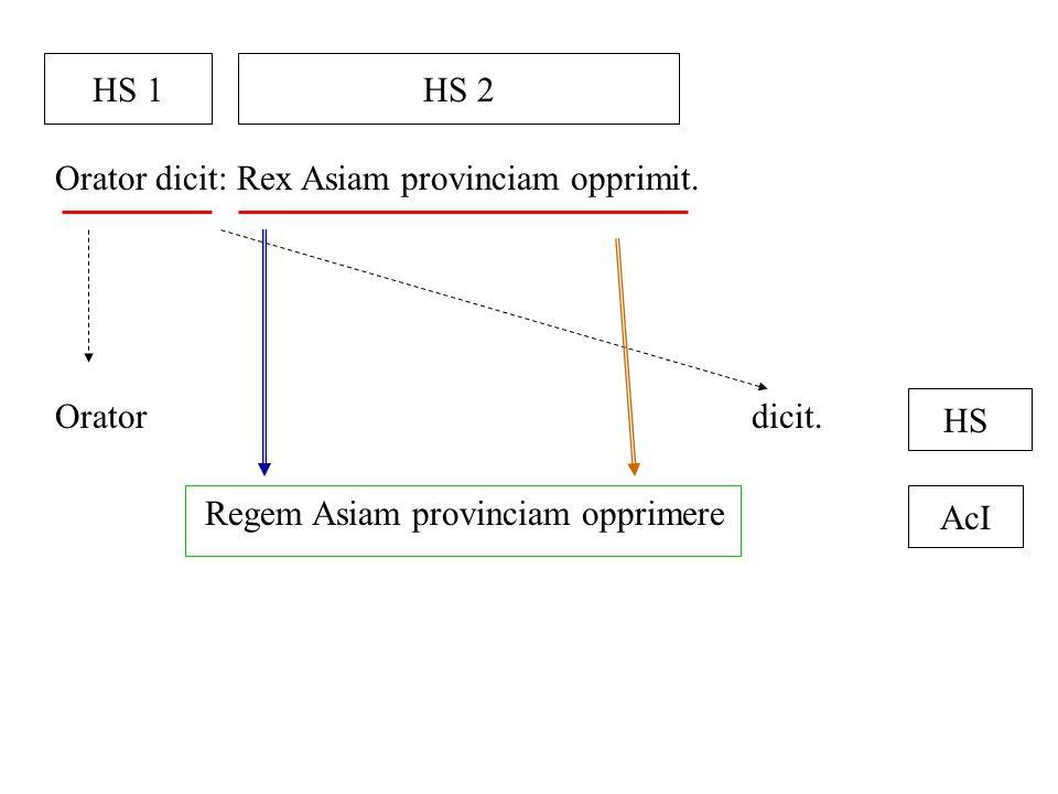 Orator dicit: Rex Asiam provinciam opprimit. HS 1HS 2 Oratordicit. Regem Asiam provinciam opprimere HS AcI