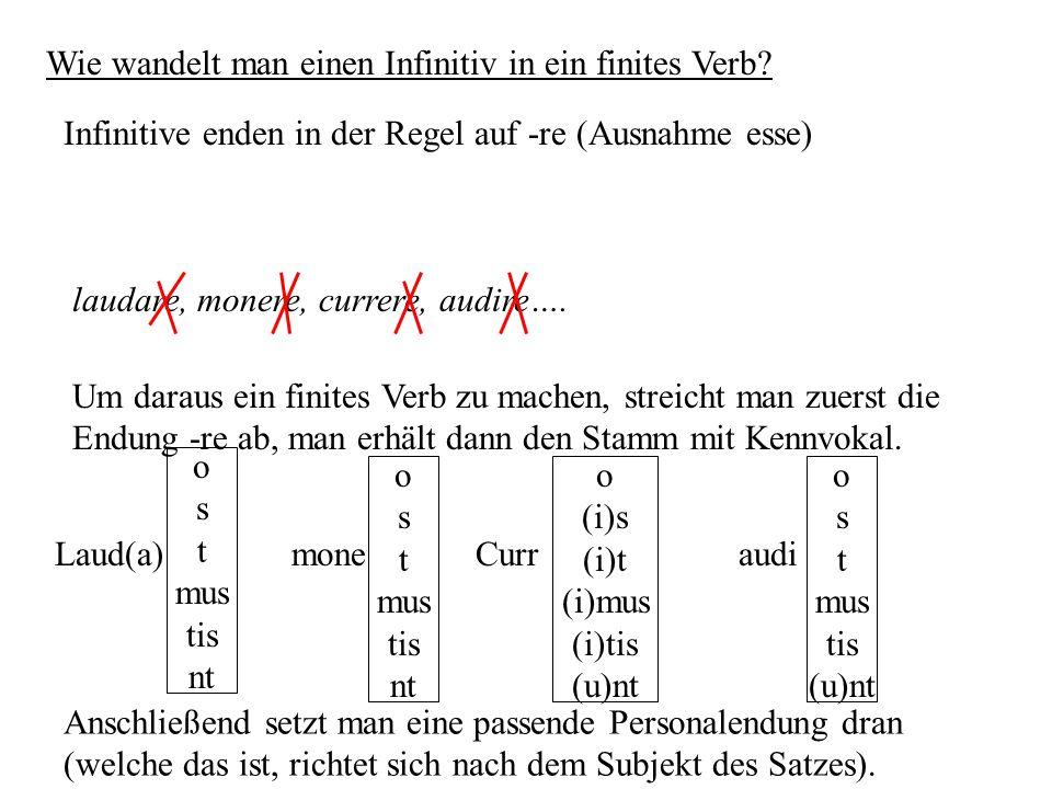 Wie wandelt man einen Infinitiv in ein finites Verb? Infinitive enden in der Regel auf -re (Ausnahme esse) laudare, monere, currere, audire…. Um darau
