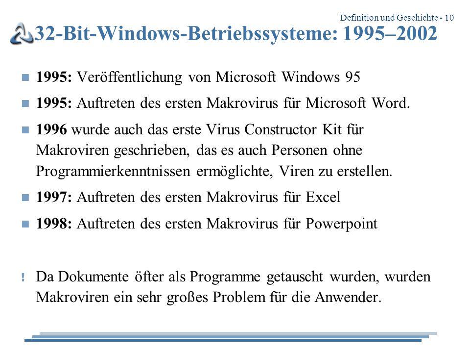 Definition und Geschichte - 10 32-Bit-Windows-Betriebssysteme: 1995–2002 n 1995: Veröffentlichung von Microsoft Windows 95 n 1995: Auftreten des ersten Makrovirus für Microsoft Word.