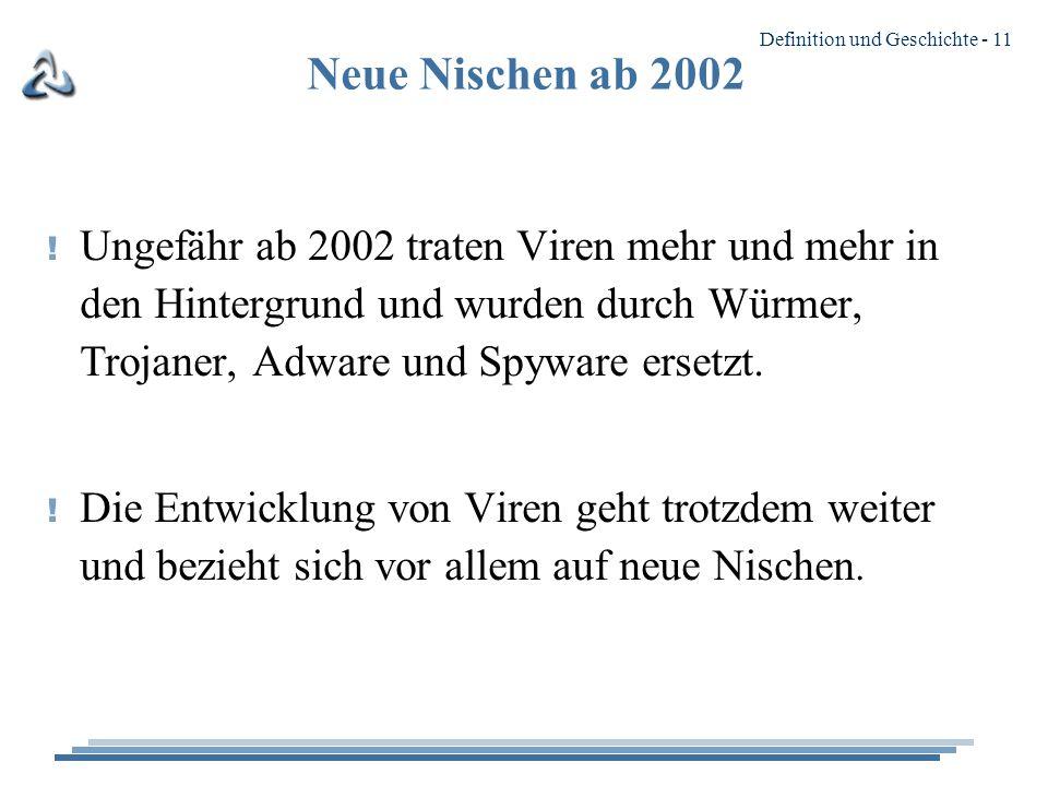 Definition und Geschichte - 11 Neue Nischen ab 2002 .
