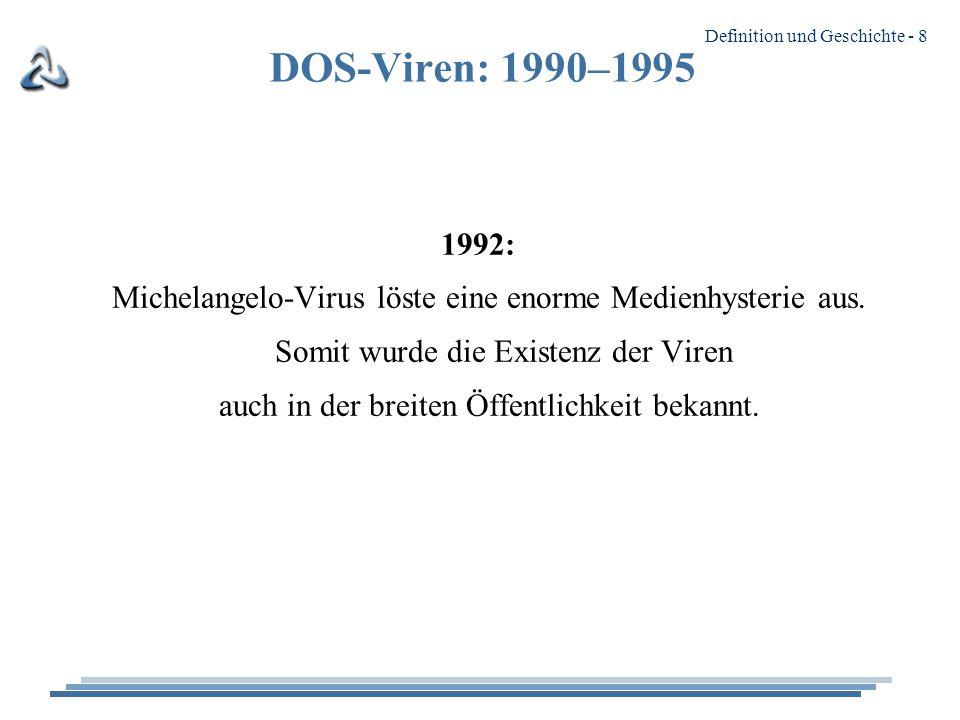 Definition und Geschichte - 8 DOS-Viren: 1990–1995 1992: Michelangelo-Virus löste eine enorme Medienhysterie aus.