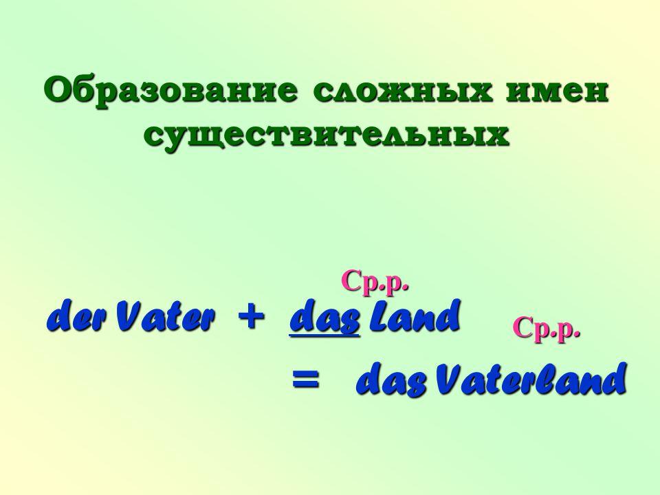 Образование сложных имен существительных der Vater + das Land = das Vaterland Ср. р.