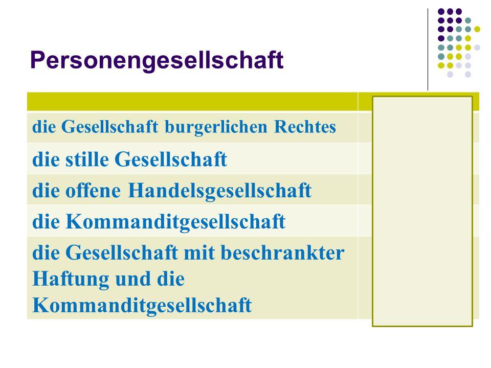Kapitalgesellschaft die Gesellschaft mit beschränkter Haftung GmbH die Aktiengesellschaft AG Kommanditgesellschaft auf Aktien KGaA die eingetragene Genossenschaft e.G.