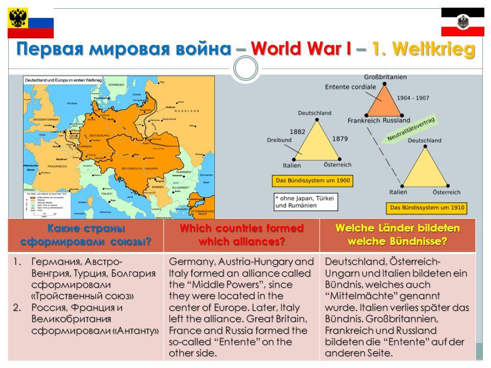 Первая мировая война – World War I – 1.Weltkrieg Какие были причины для формирования союзов.