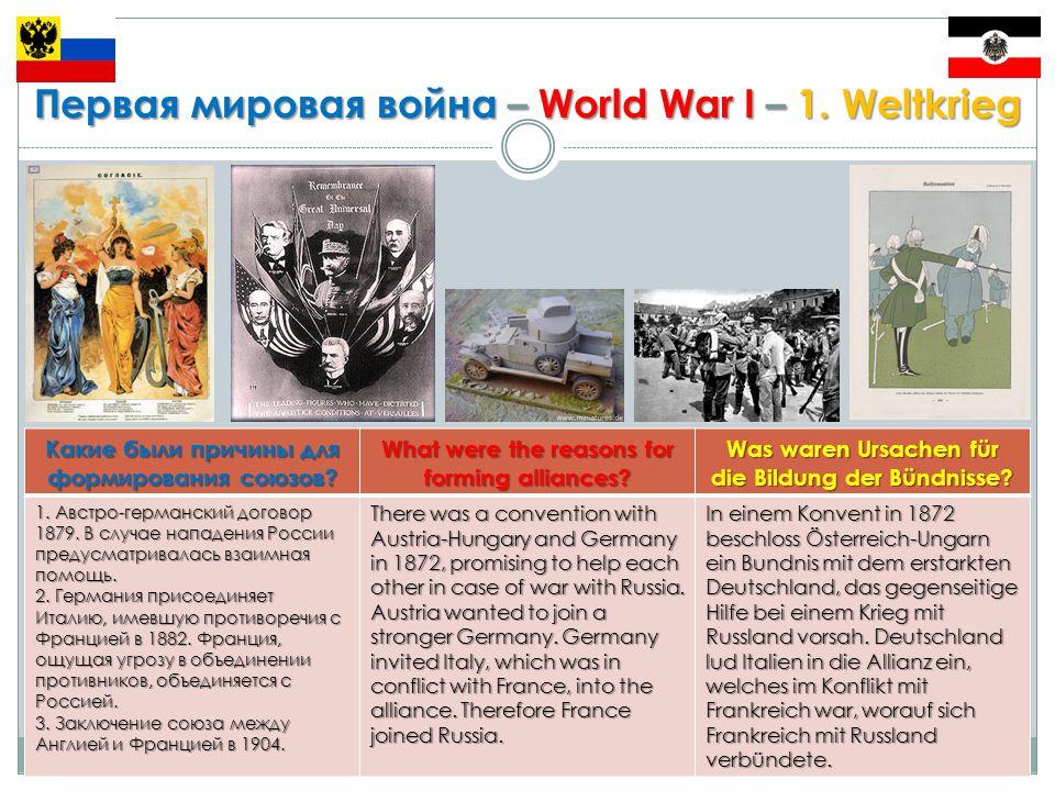 Первая мировая война – World War I – 1.Weltkrieg Какие страны были виновниками войны.