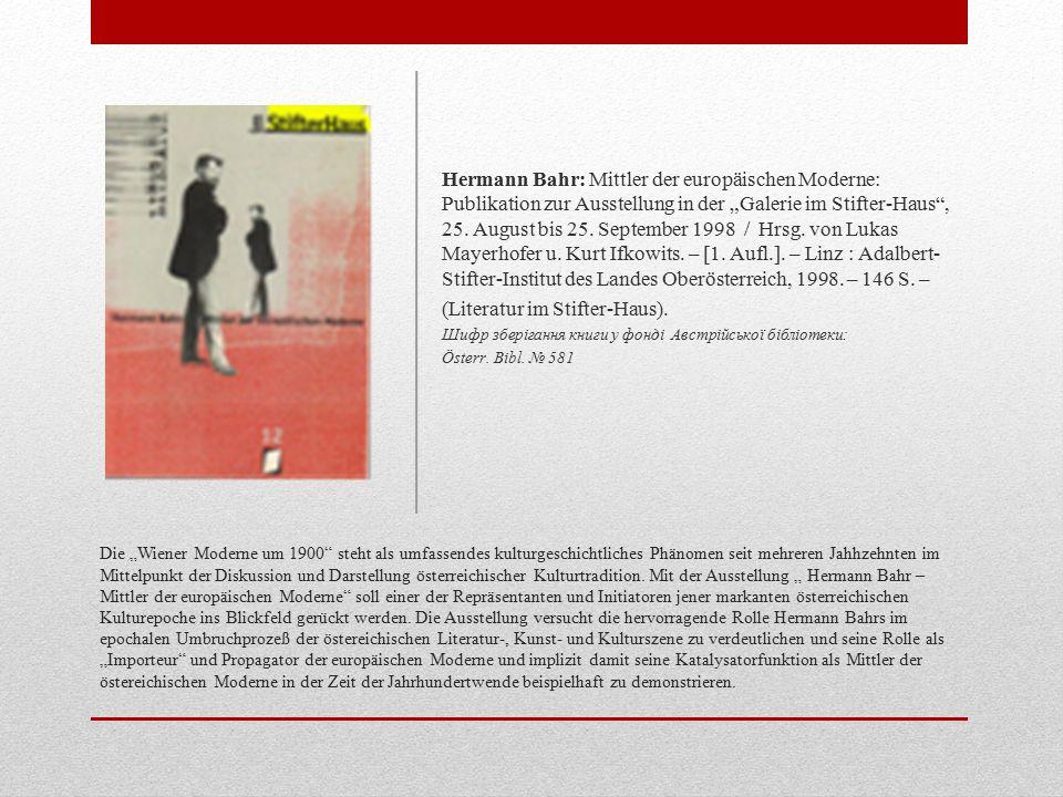 """Die """"Wiener Moderne um 1900 steht als umfassendes kulturgeschichtliches Phänomen seit mehreren Jahhzehnten im Mittelpunkt der Diskussion und Darstellung österreichischer Kulturtradition."""