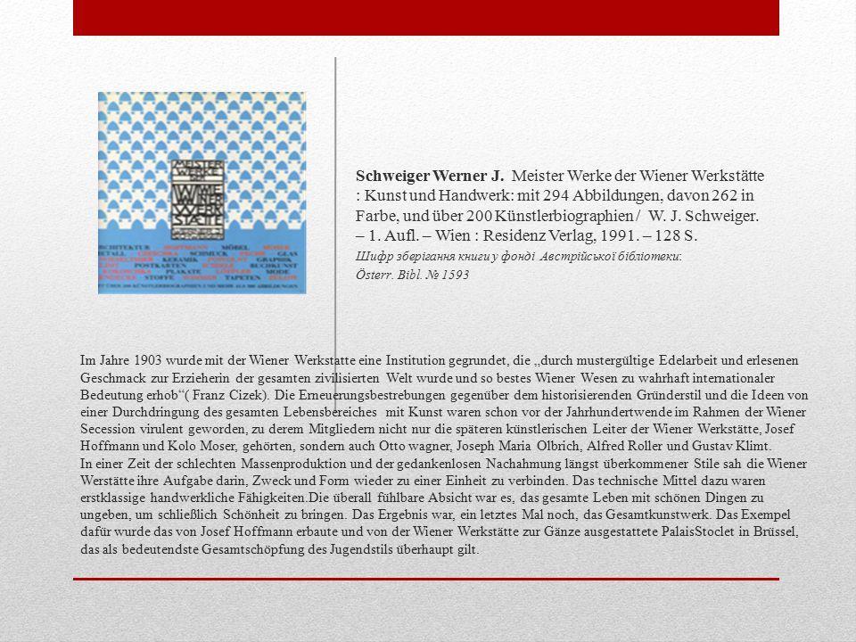 """Im Jahre 1903 wurde mit der Wiener Werkstatte eine Institution gegrundet, die """"durch mustergültige Edelarbeit und erlesenen Geschmack zur Erzieherin der gesamten zivilisierten Welt wurde und so bestes Wiener Wesen zu wahrhaft internationaler Bedeutung erhob ( Franz Cizek)."""