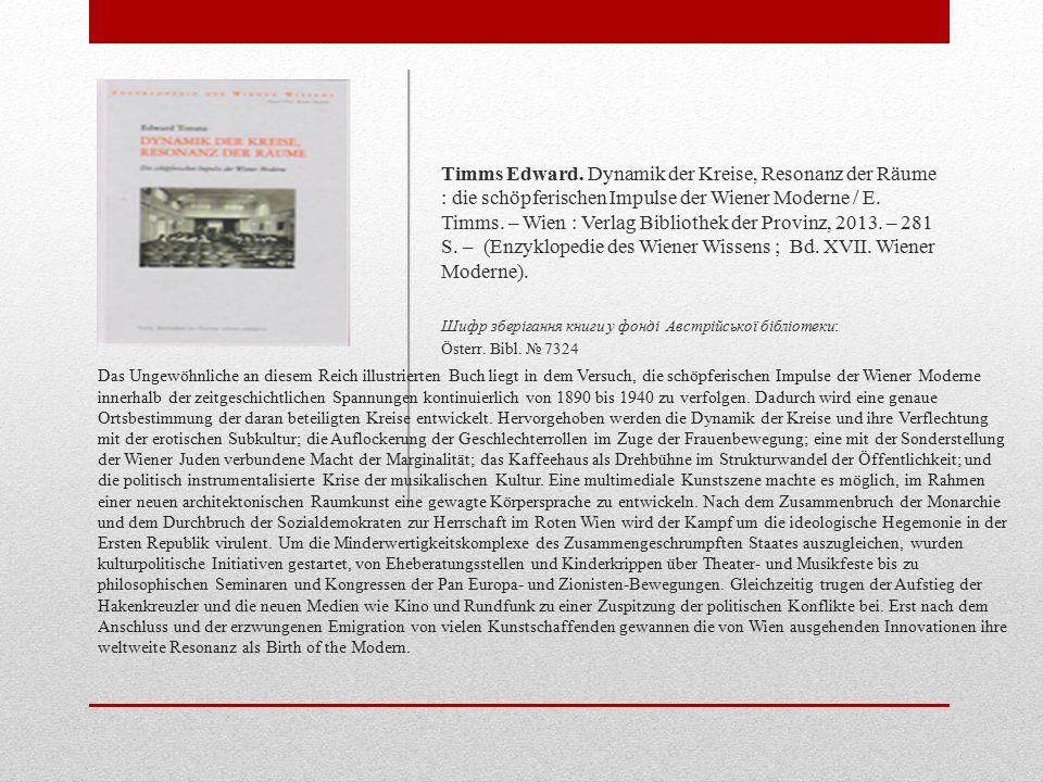 Das Ungewöhnliche an diesem Reich illustrierten Buch liegt in dem Versuch, die schöpferischen Impulse der Wiener Moderne innerhalb der zeitgeschichtlichen Spannungen kontinuierlich von 1890 bis 1940 zu verfolgen.