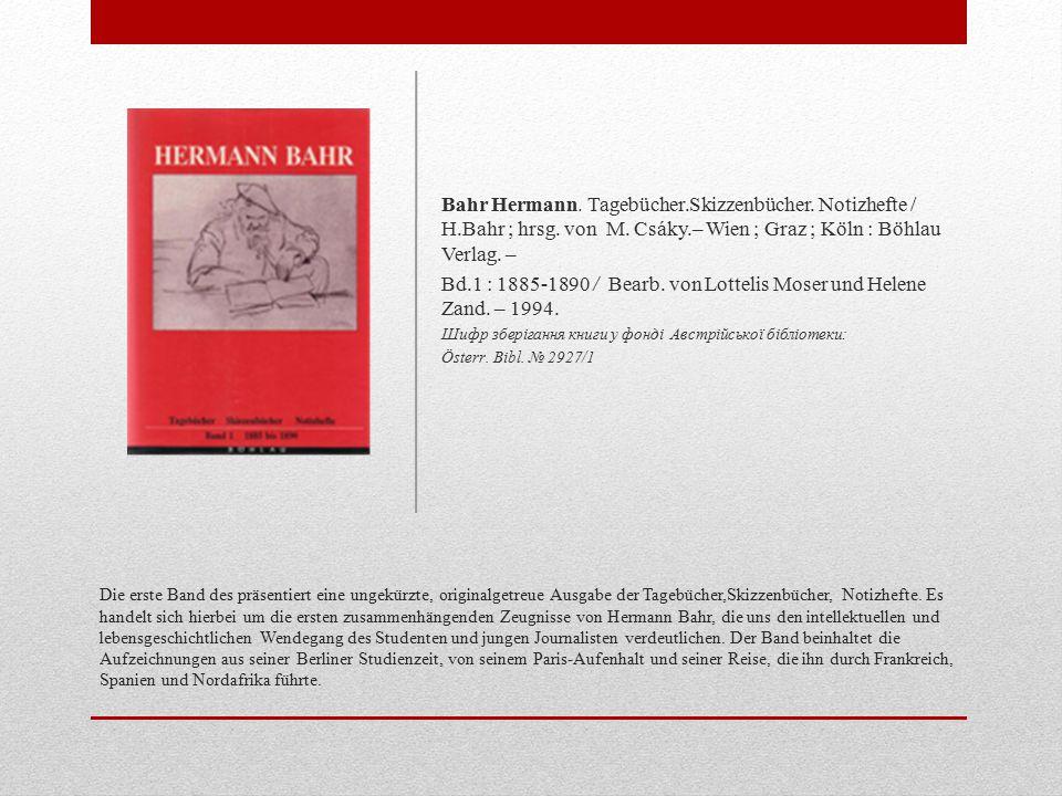 """Die vorliegende zweite Band der Tagebuchedition dokumentiert die Jahre 1890 bis 1900, jene entscheidende Zeit also, in der die """"Wiener Moderne sich zu entfalten und ihre eigenen Konturen zu gewinnen begann."""