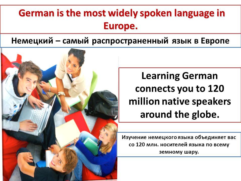 Немецкий – самый распространенный язык в Европе German is the most widely spoken language in Europe. German is the most widely spoken language in Euro