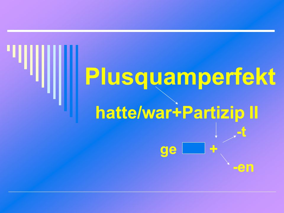 Plusquamperfekt hatte/war+Partizip II -t ge + -en