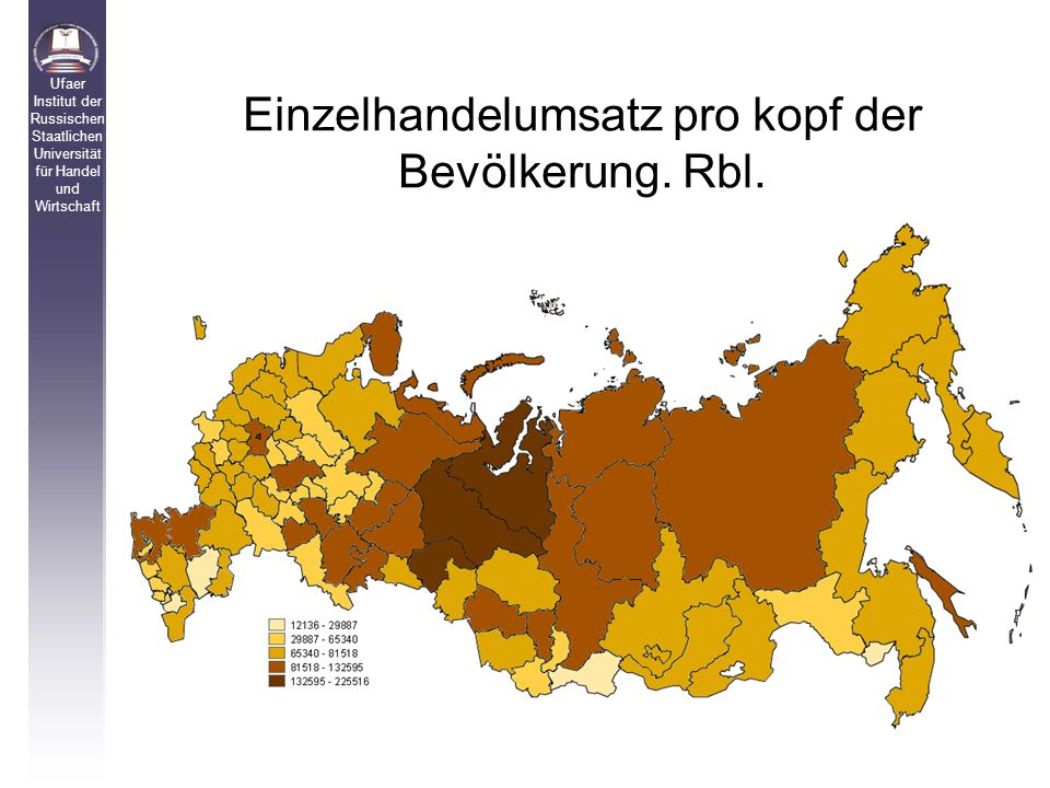 Einzelhandelumsatz pro kopf der Bevölkerung. Rbl.