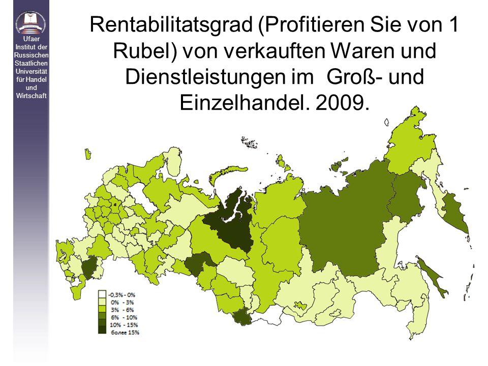 Rentabilitatsgrad (Profitieren Sie von 1 Rubel) von verkauften Waren und Dienstleistungen im Groß- und Einzelhandel.
