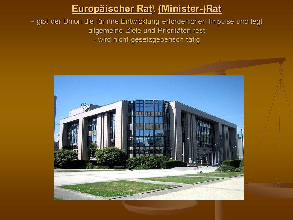 Europäischer RatEuropäischer Rat\ (Minister-)Rat - gibt der Union die für ihre Entwicklung erforderlichen Impulse und legt allgemeine Ziele und Priori