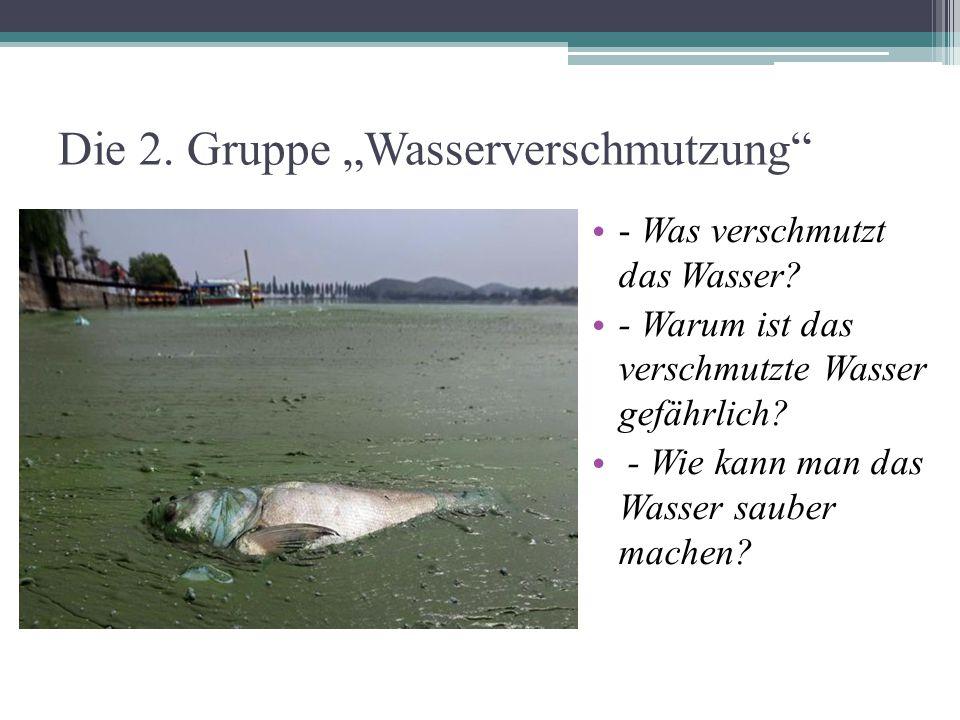 """Die 2. Gruppe """"Wasserverschmutzung"""" - Was verschmutzt das Wasser? - Warum ist das verschmutzte Wasser gefährlich? - Wie kann man das Wasser sauber mac"""