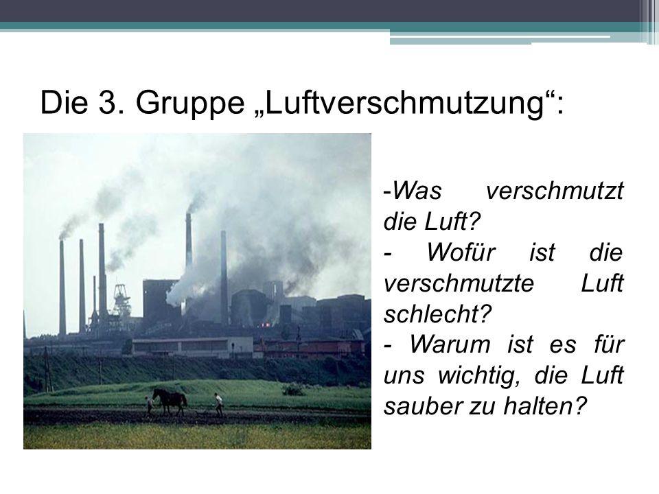 """Die 3. Gruppe """"Luftverschmutzung"""": -Was verschmutzt die Luft? - Wofür ist die verschmutzte Luft schlecht? - Warum ist es für uns wichtig, die Luft sau"""