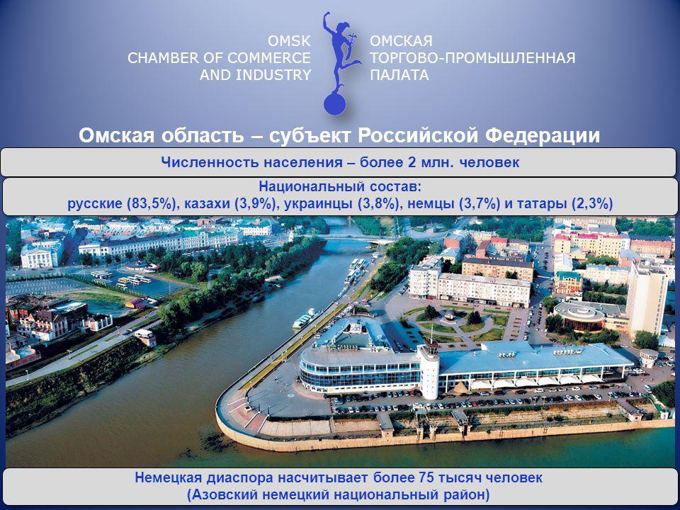 OMSK CHAMBER OF COMMERCE AND INDUSTRY INDUSTRIE- UND HANDELSKAMMER OMSK Im Gebiet sind über 33 russisch-deutsche Joint Ventures registriert.