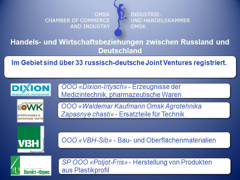 OMSK CHAMBER OF COMMERCE AND INDUSTRY INDUSTRIE- UND HANDELSKAMMER OMSK Im Gebiet sind über 33 russisch-deutsche Joint Ventures registriert. Handels-