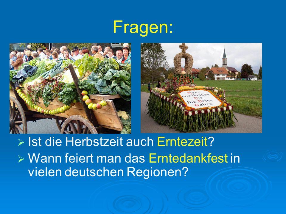 Fragen:   Ist die Herbstzeit auch Erntezeit?   Wann feiert man das Erntedankfest in vielen deutschen Regionen?