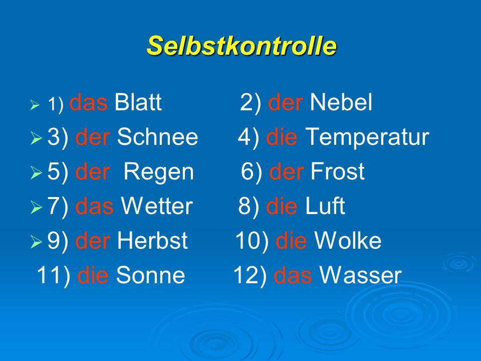 Selbstkontrolle   1) das Blatt 2) der Nebel   3) der Schnee 4) die Temperatur   5) der Regen 6) der Frost   7) das Wetter 8) die Luft   9) d