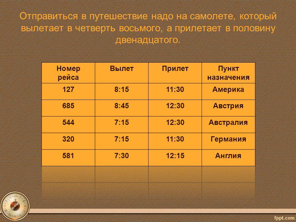 Отправиться в путешествие надо на самолете, который вылетает в четверть восьмого, а прилетает в половину двенадцатого.
