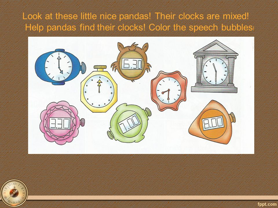 Look at these little nice pandas. Their clocks are mixed.