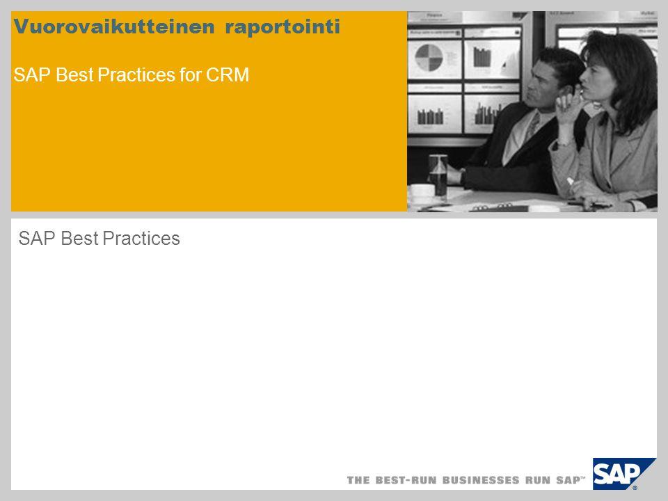 Vuorovaikutteinen raportointi SAP Best Practices for CRM SAP Best Practices