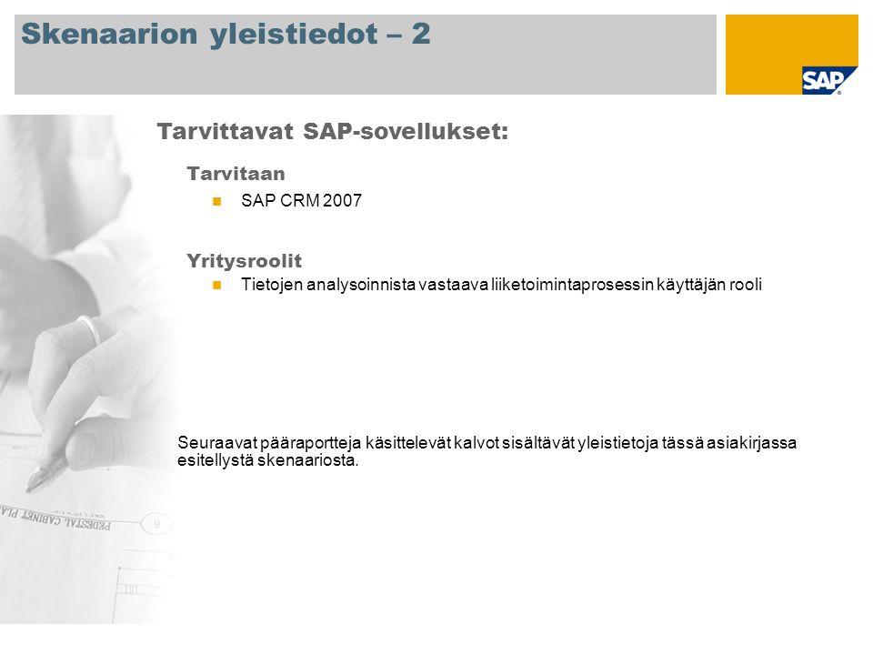 Skenaarion yleistiedot – 2 Tarvitaan SAP CRM 2007 Yritysroolit Tietojen analysoinnista vastaava liiketoimintaprosessin käyttäjän rooli Tarvittavat SAP-sovellukset: Seuraavat pääraportteja käsittelevät kalvot sisältävät yleistietoja tässä asiakirjassa esitellystä skenaariosta.