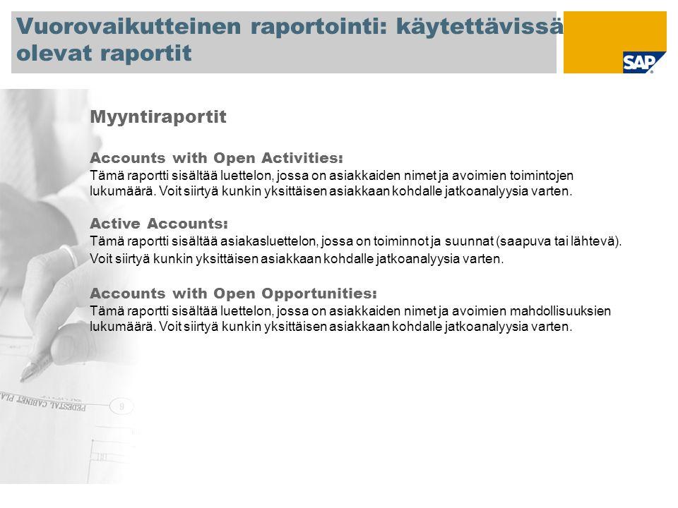Vuorovaikutteinen raportointi: käytettävissä olevat raportit Myyntiraportit Accounts with Open Activities: Tämä raportti sisältää luettelon, jossa on asiakkaiden nimet ja avoimien toimintojen lukumäärä.