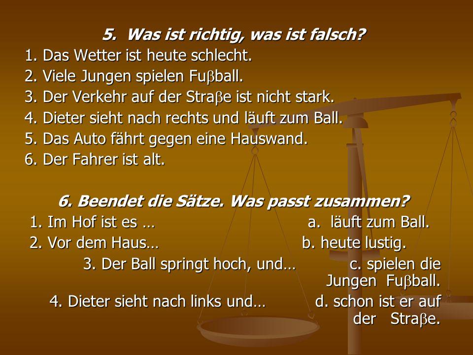 7.Ergänzt die Sätze durch diese Wörter: scheint, das Spiel, nichts, alter.
