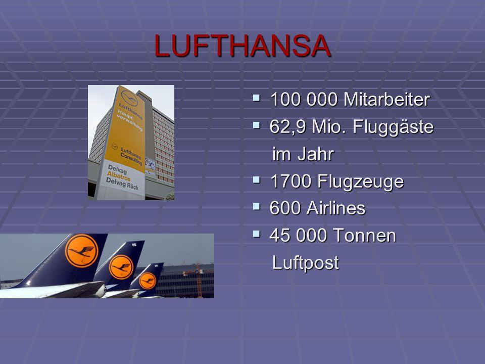 LUFTHANSA  100 000 Mitarbeiter  62,9 Mio. Fluggäste im Jahr im Jahr  1700 Flugzeuge  600 Airlines  45 000 Tonnen Luftpost Luftpost