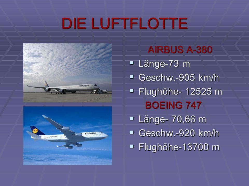 AIRBUS A-380 LLLLänge-73 m GGGGeschw.-905 km/h FFFFlughöhe- 12525 m BOEING 747 LLLLänge- 70,66 m GGGGeschw.-920 km/h FFFFlughöhe-13700 m DIE LUFTFLOTTE