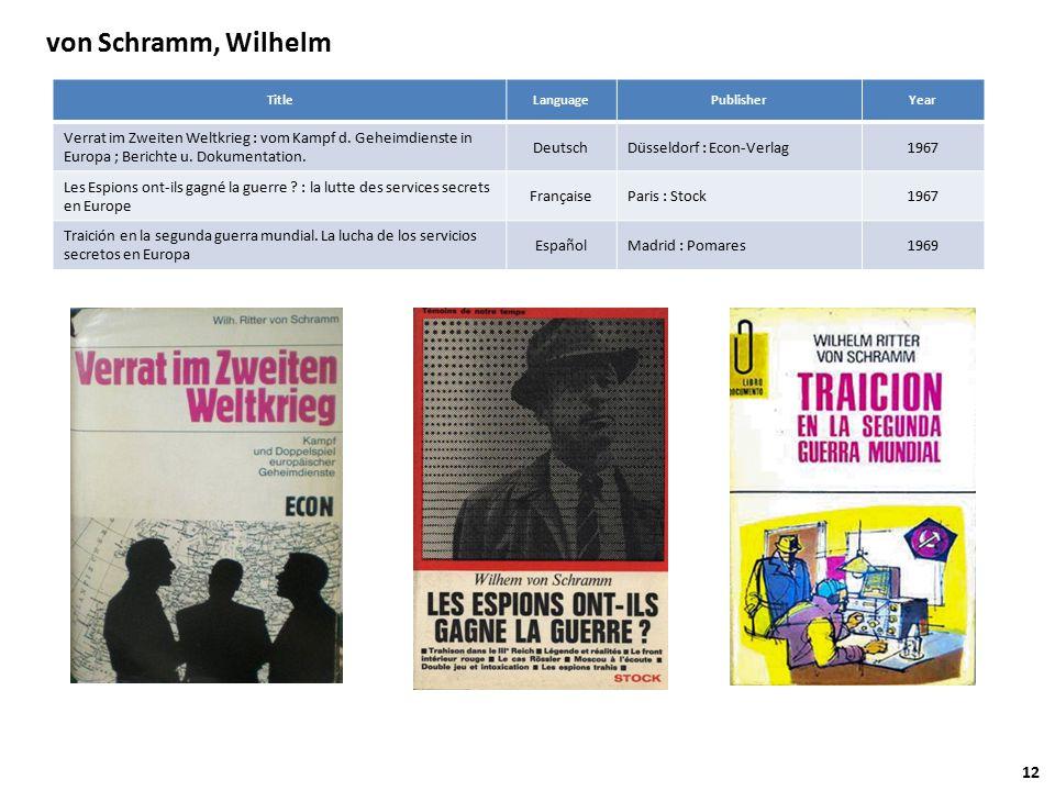 von Schramm, Wilhelm TitleLanguagePublisherYear Verrat im Zweiten Weltkrieg : vom Kampf d.