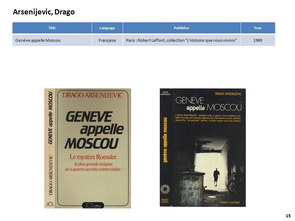 Arsenijevic, Drago TitleLanguagePublisherYear Genève appelle MoscouFrançaiseParis : Robert Laffont, collection L Histoire que nous vivons 1969 15