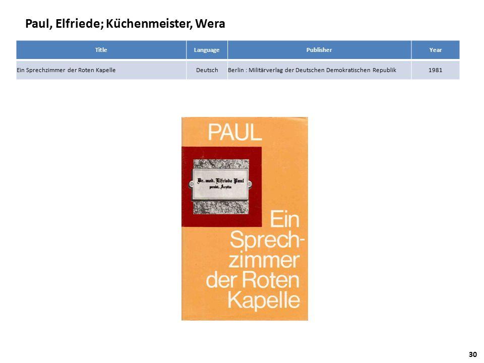 Paul, Elfriede; Küchenmeister, Wera TitleLanguagePublisherYear Ein Sprechzimmer der Roten KapelleDeutschBerlin : Militärverlag der Deutschen Demokratischen Republik1981 30