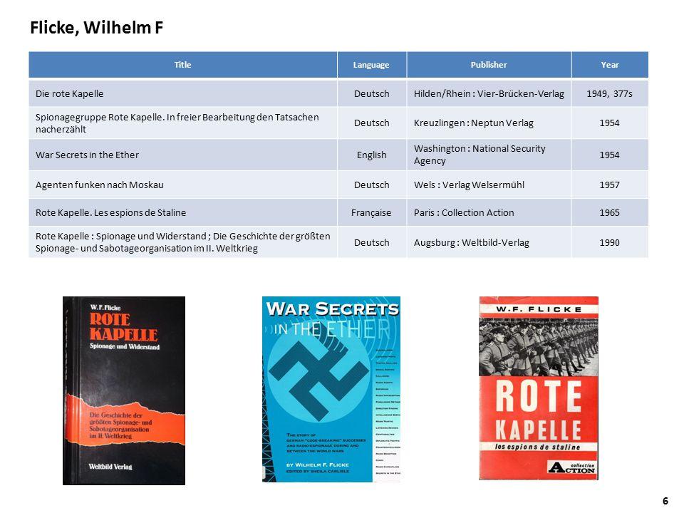 Flicke, Wilhelm F TitleLanguagePublisherYear Die rote KapelleDeutschHilden/Rhein : Vier-Brücken-Verlag1949, 377s Spionagegruppe Rote Kapelle.