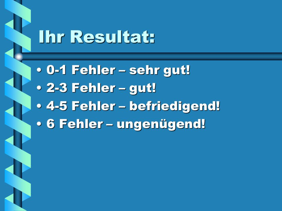 Ihr Resultat: 0-1 Fehler – sehr gut!0-1 Fehler – sehr gut.