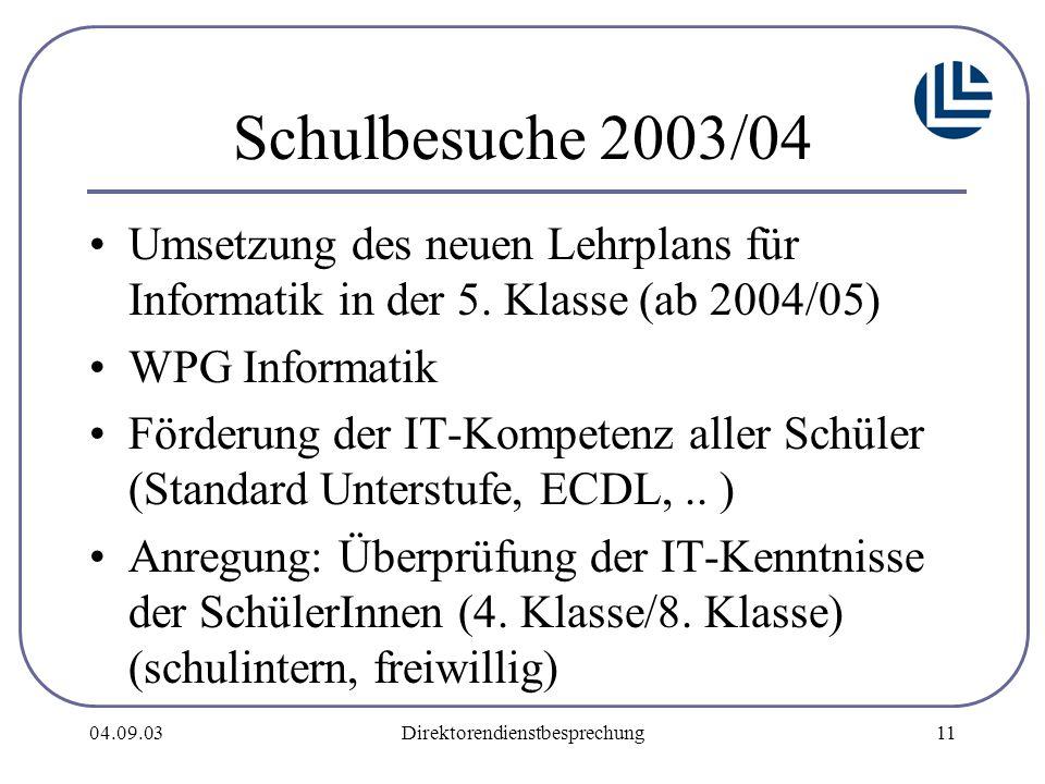 04.09.03Direktorendienstbesprechung11 Schulbesuche 2003/04 Umsetzung des neuen Lehrplans für Informatik in der 5.