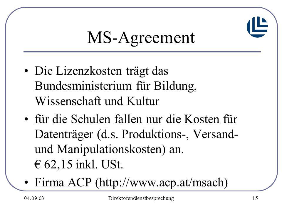04.09.03Direktorendienstbesprechung15 MS-Agreement Die Lizenzkosten trägt das Bundesministerium für Bildung, Wissenschaft und Kultur für die Schulen fallen nur die Kosten für Datenträger (d.s.